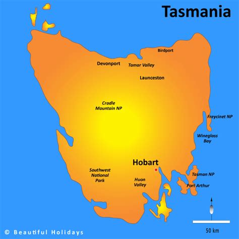 tasmania map showing attractions accommodation