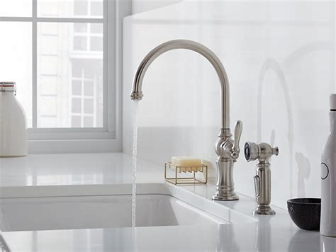 k 99262 artifacts swing spout kitchen faucet with side spray kohler