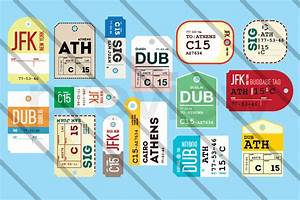 15 vintage airline luggage tags objects on creative market With airline luggage tag template