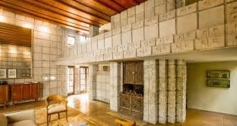 frank lloyd wright home interiors frank lloyd wright millard house concrete block interior living wooded ceiling walls
