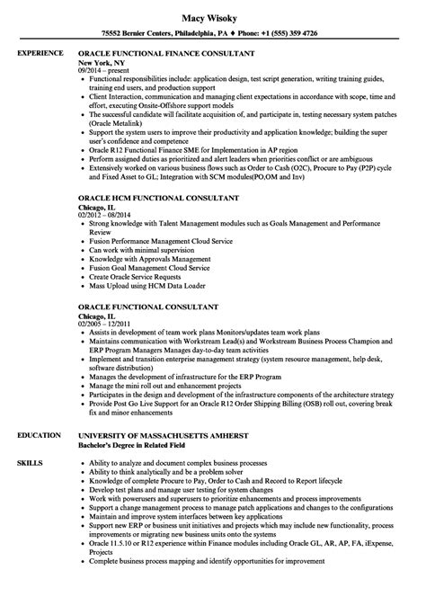 oracle functional consultant resume sles velvet