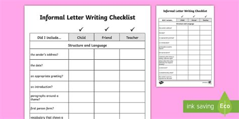 yy informal letter writing checklist requests ks english