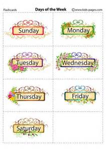 days of the week flashcard