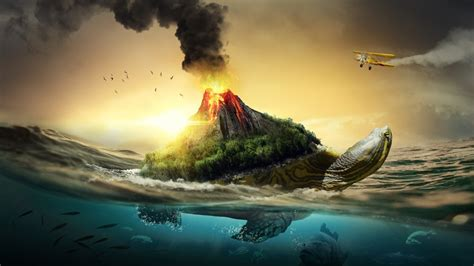 turtle volcano  wallpapers hd wallpapers id