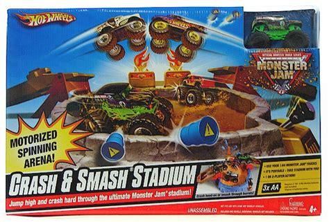 hot wheels crash smash stadium monster jam set toy