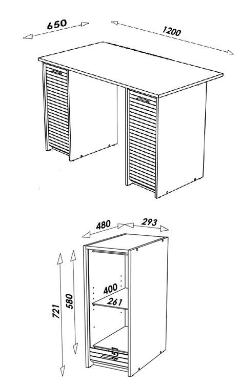 hauteur standard d un bureau bureau blanc avec caissons et rideau coulissant decome store