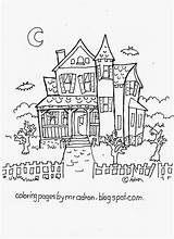 Haunted Coloring Printable Adron Mr sketch template