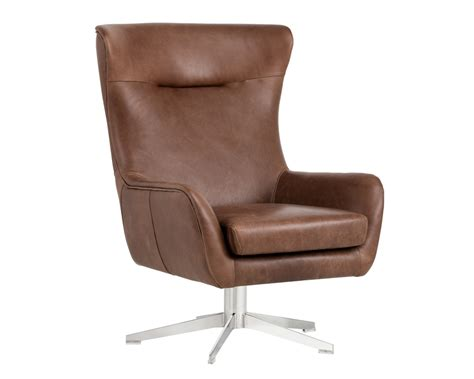 Furniture Brown Leather Swivel Chair With Steel Base by Judy Swivel Chair Stainless Steel Profundo Sepia Brown