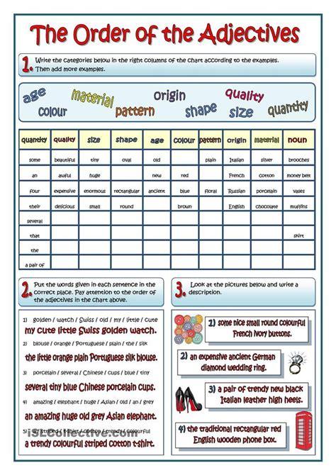 14 Best Grammar Ordering Adjectives Images On Pinterest  Order Of Adjectives Worksheet