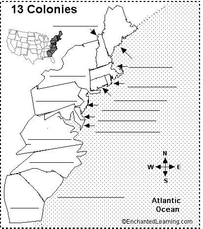 Label 13 Colonies Printout Enchantedlearningcom