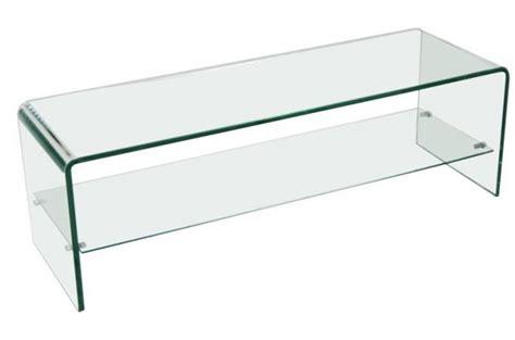 plateau cuisine design meuble tv 1 étagère en verre transparent courbé otta