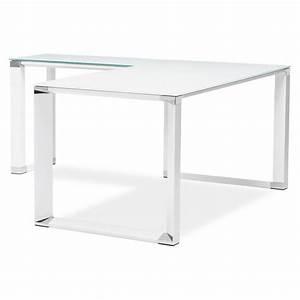 Bureau Angle Verre : bureau d 39 angle design master en verre tremp blanc ~ Teatrodelosmanantiales.com Idées de Décoration