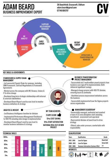 Visual Resume Sles by Infographic Cv One Page Resume Visual Resume Infographic Resume Infographic Cv