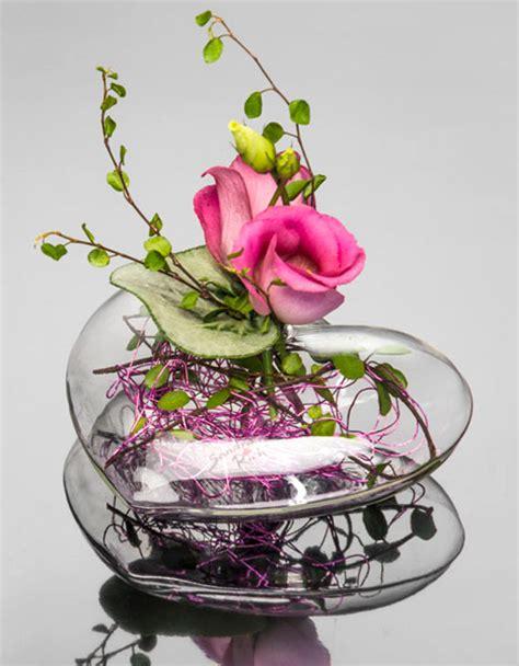 vase plat centre de table mariage le soliflore coeur plat centre de table en verre