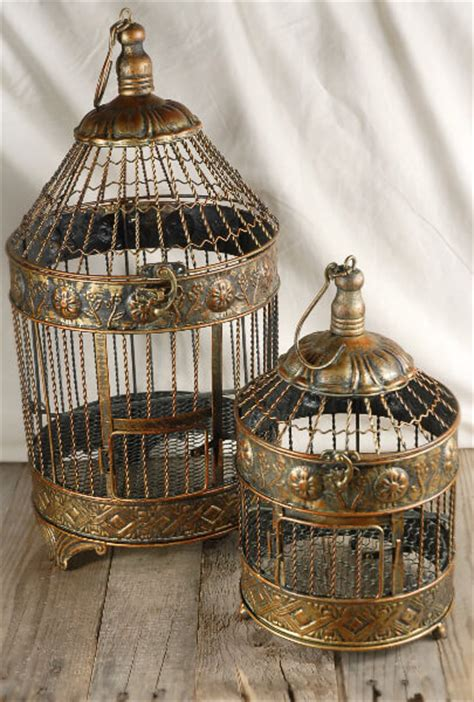 vintage brass  bird cages set