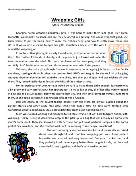 Reading Comprehension Worksheet  Wrapping Gifts
