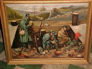 Military Coin Design Early Civil War Oil On Canvas Painting Obnoxious Antiques