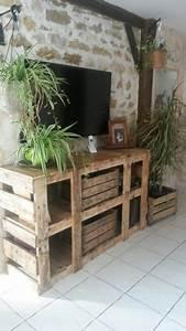 Caisse De Pomme : meuble t l en palette et caisse pomme meuble fabriqu avec du bois de r cup ration ~ Teatrodelosmanantiales.com Idées de Décoration