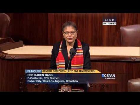 Rep Karen Bass speaks on House floor about Human ...
