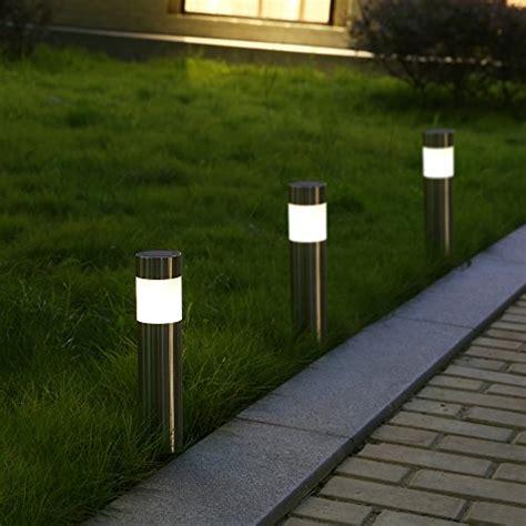 solar bollard lights voona solar bollard lights outdoor 6 pack stainless steel