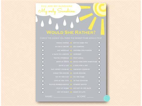 sunshine baby shower game pack printabell