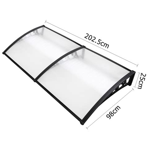 coolum outdoor window awning cover   mm black brackerts clear cover