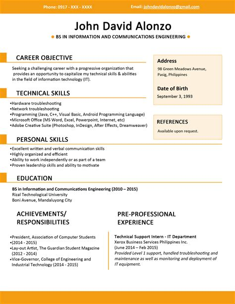 resume sle for students philippines resume templates you can jobstreet philippines