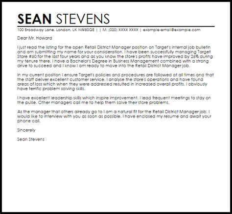 retail district manager cover letter sample cover letter templates examples