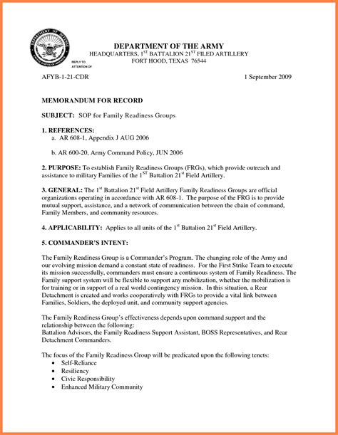 memorandum format army examples  forms