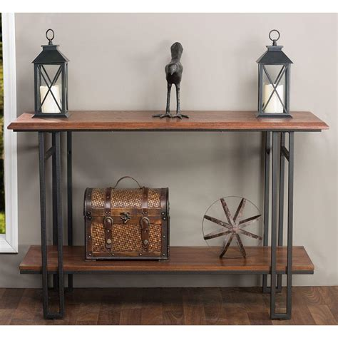 wood metal console table baxton studio newcastle wood and metal brown antique