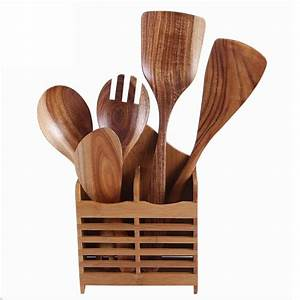 Natural Wooden Kitchen Slotted Spatula Spoon Mixing Holder