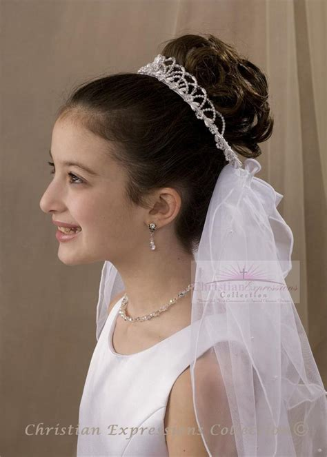 hair style communion wreath or crown veil holy 9300