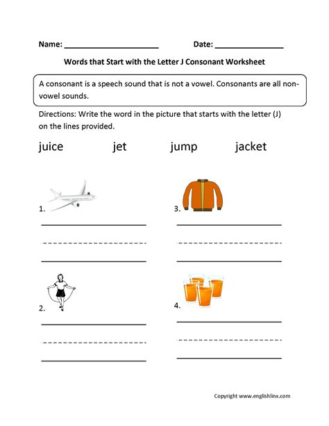 words that start with the letter j language arts phonics worksheets consonant worksheets 69954