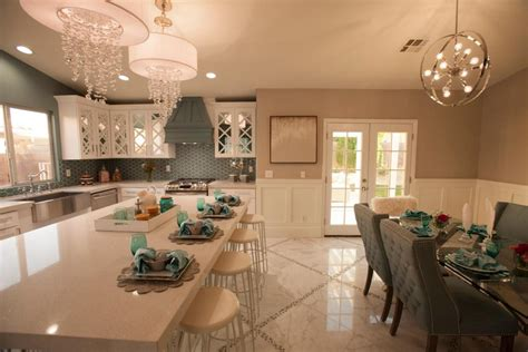 kitchen island as dining table level glam spaces seen on 39 flip or flop vegas 39 flip