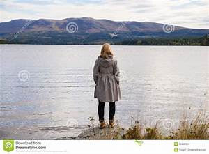 Alone Thinking Woman Standing On A Stone Stock Images ...