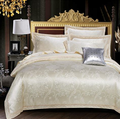 White And Gold Bed Covers by Beige Gold White Jacquard Bed Cover Tencel Cotton Bedding