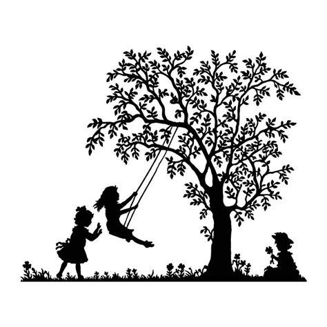 sticker mural chambre bébé sticker mural petites filles qui jouent à la balançoire