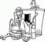 Plumber Coloring Repairing Sink Replacing Broken Pipe Drawings sketch template