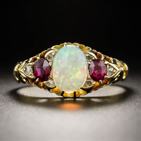 english vintage style opal  ruby ring