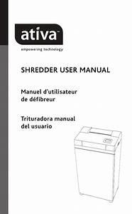 Ativa Paper Shredder Dsc200c User Guide