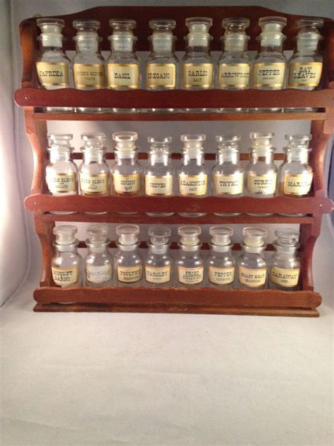 Wall Mount Spice Rack With Jars by Vintage Large Spice Rack With 24 Spice Jars By