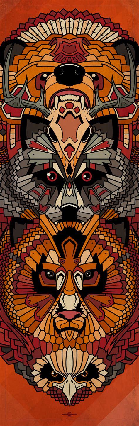 animals totem illustration bear deer skull wolf lion