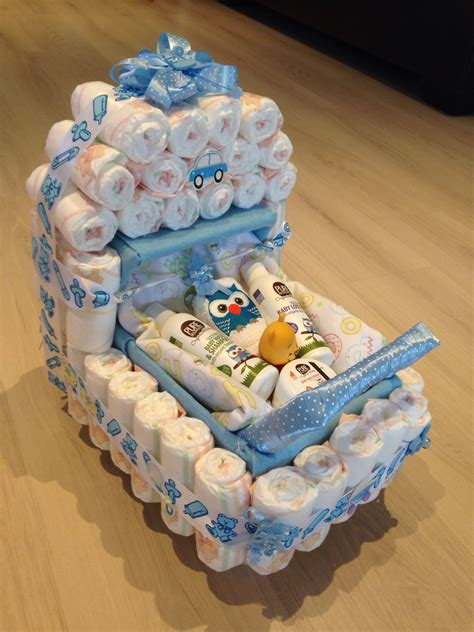 What To Make For Baby Shower Baby Shower Present Nappy Stroller Idea Baby Shower
