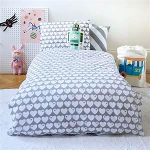Bettwäsche Für Kinder : kinder bettw sche herzen grau wei 100x135 von bygraziela kaufen ~ Orissabook.com Haus und Dekorationen