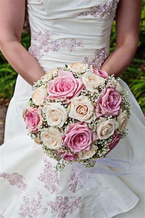 pink  white rose bridal bouquet stock photo image