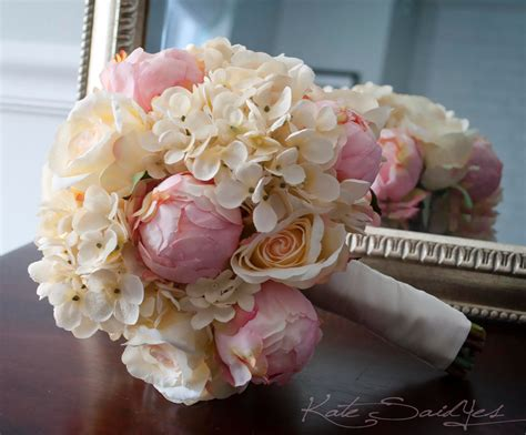 shabby chic bridal bouquet shabby chic wedding bouquet peony rose and hydrangea ivory