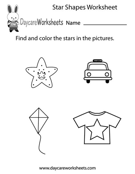 star shapes worksheet  preschool
