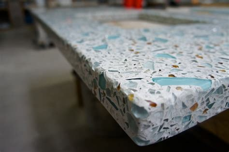 recycled glass concrete countertop teal mirror