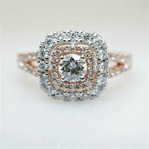 rose gold diamond double halo split shank engagement ring With rose gold and white gold wedding rings