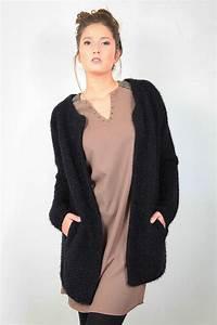 Gilet Long Noir Femme : gilet noir grosse maille laine et tricot ~ Voncanada.com Idées de Décoration